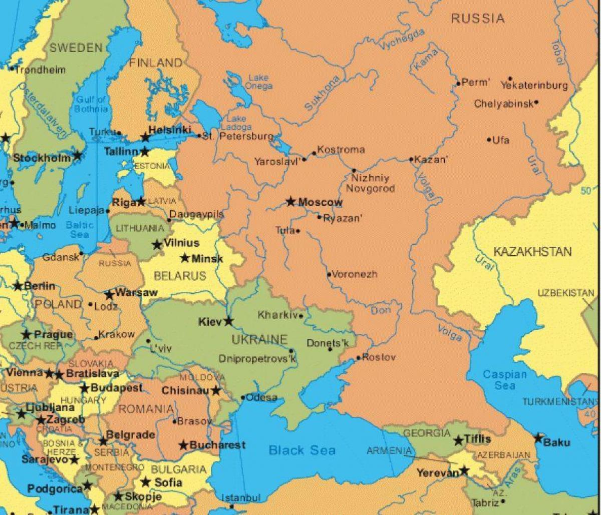 Cartina Europa E Russia.Mappa Dell Europa Dell Est E Russia Russia E In Europa Orientale Mappa Europa Dell Est Europa