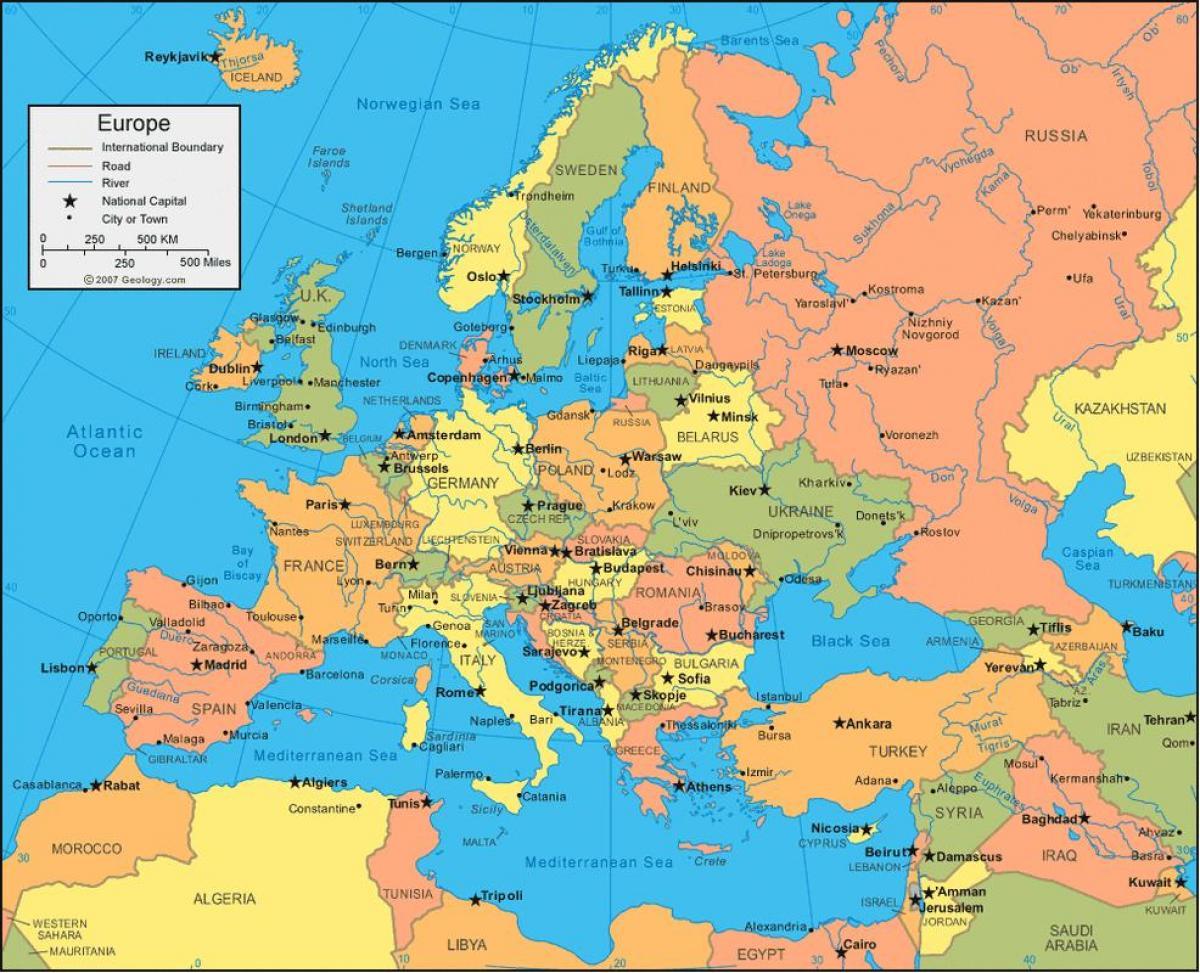 Cartina Europa E Russia.Mappa Di Russia Ed Europa Russia Mappa Europa Dell Est Europa