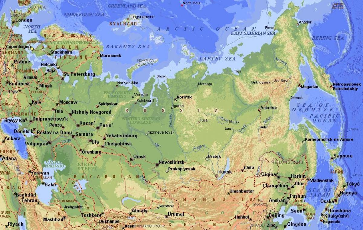 Cartina Russia Europea Fisica.Russia Caratteristiche Fisiche Mappa Caratteristiche Fisiche Della Russia Mappa Europa Dell Est Europa